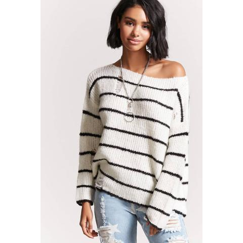 Striped Open-Knit Sweater | Forever 21 - 2000159103