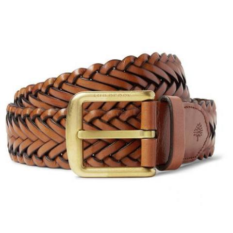 Mulberry - 4cm Brown Woven Leather Belt