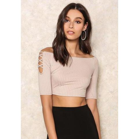 Dusty Pink Off Shoulder Ribbed Crop Top - Tops - Clothes