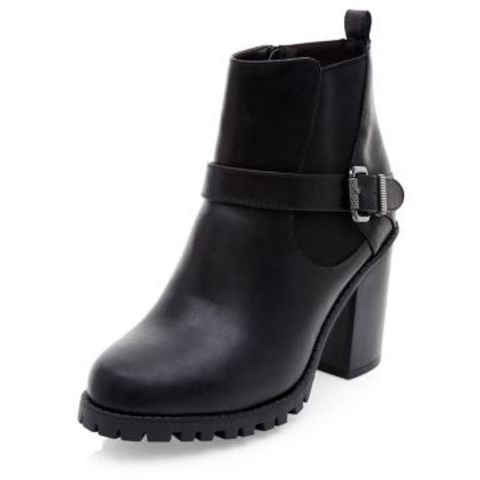 Wide Fit Black  Cleated Sole Block Heel Boots