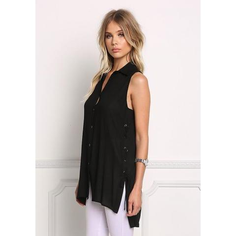 Black Lace Up Collared Tank Top - Tops - Clothes