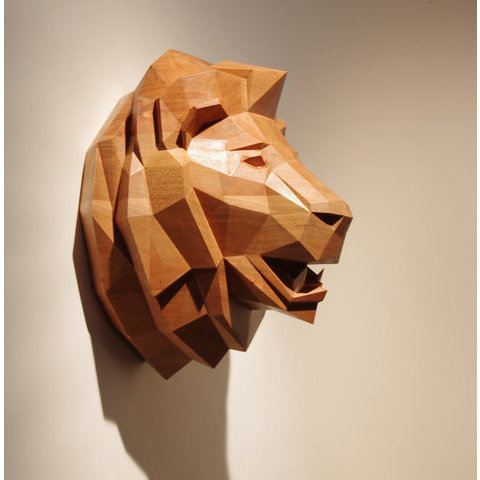 Wooden Lion Head Beautiful Cherrywood Sculpture by PaperwolfsShop