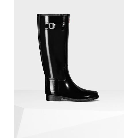 Womens Black Refined Gloss Rain Boots | Official US Hunter Boots Store