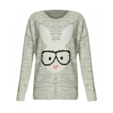Light Grey Geek Glasses Rabbit Print Jumper