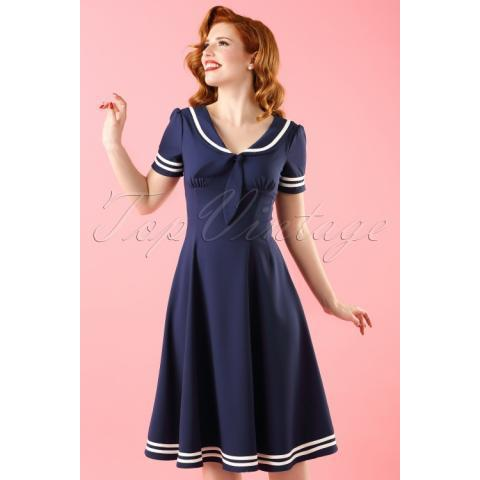 Ambleside Swing Dress Années 50 en Bleu Marine