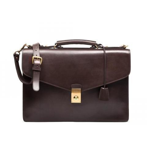 Bridle Leather Lock Briefcase · Lotuff Leather