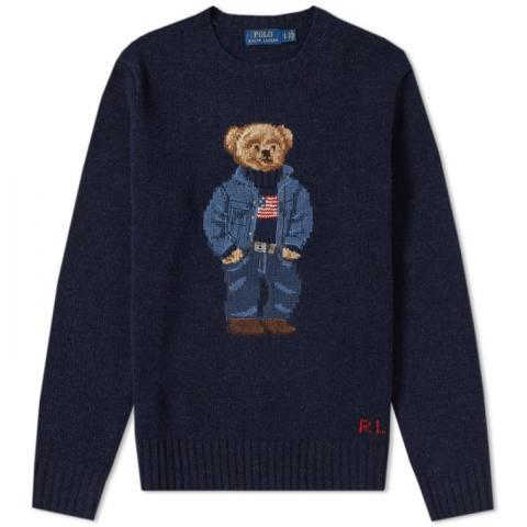 Polo Ralph Lauren Casual Bear Intarsia Knit (Navy) | END.