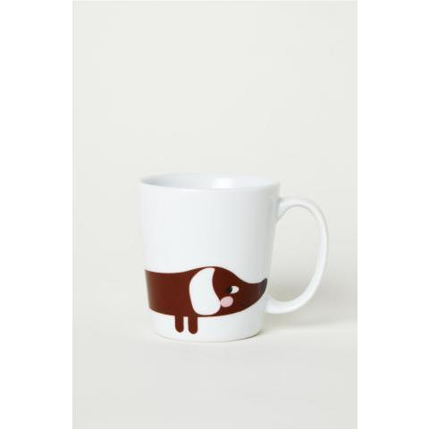 Petit mug en porcelaine - Blanc/teckel - Home All | H&M FR