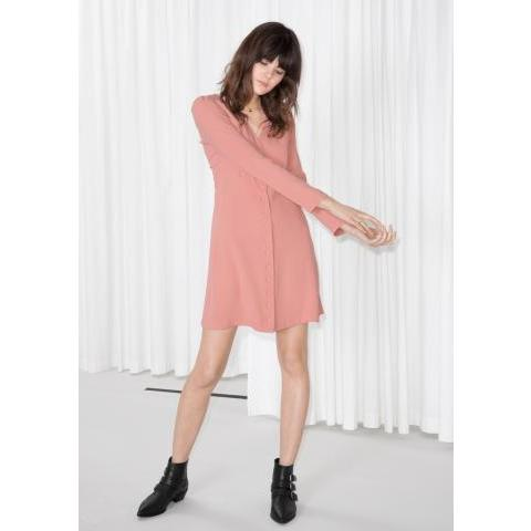 V-Neck Button Up Dress - Pink - & Other Stories