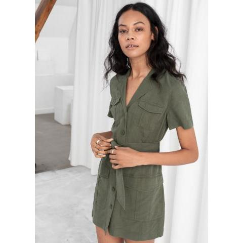 Belted Workwear Mini Dress - Khaki - Mini dresses - & Other Stories