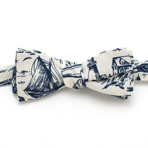 High Tide Nautical Print Bow Tie - Handmade Vintage Ties, Bow Ties, Pocket Squares, Bandanas, and Men's Furnishings - General Knot & Co.