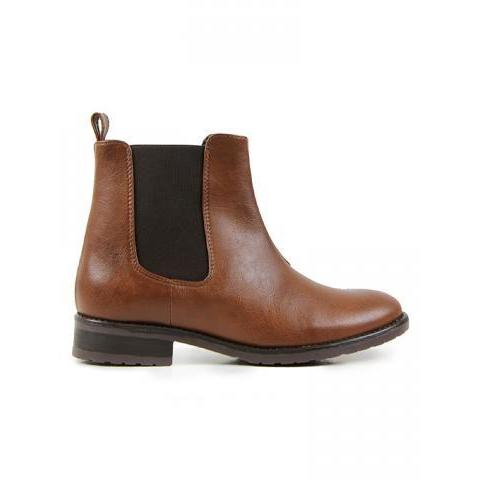 Vegan Vegetarian Non-Leather Womens Chelsea Flat Boots Brown