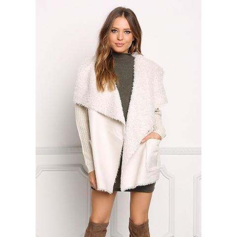 Beige Faux Shearling Suedette Thick Knit Cardigan - Sale