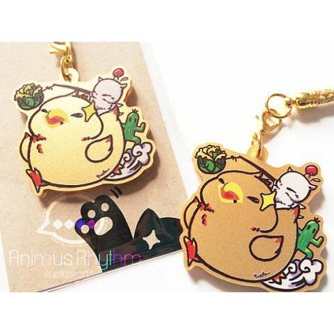 Golden Acrylic straps charm: Fat Chocobo Final by Animusrhythm