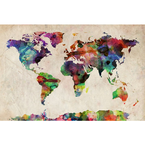 World Map Urban Watercolor Art Prints by Michael Tompsett - Shop Canvas and Framed Wall Art Prints at Imagekind.com