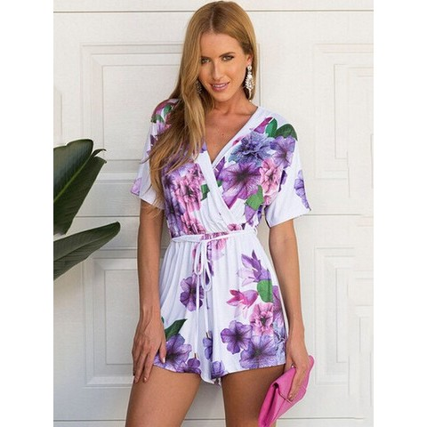 Sexy Violet Printed V-neck Silk Jumpsuits Short-Sleeved Siamese Shorts with Belt - WSDear.com