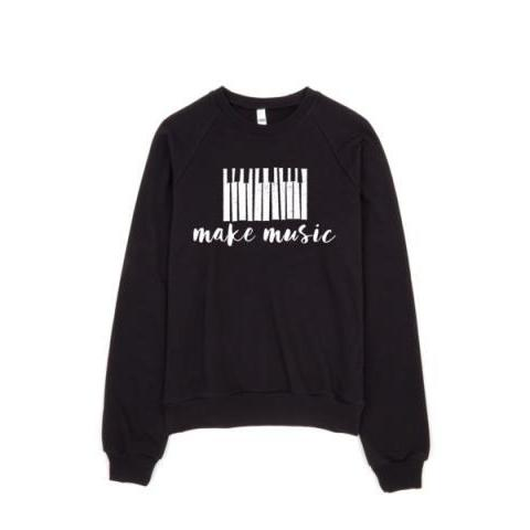 make music sweater | women's black pullover – little cutees