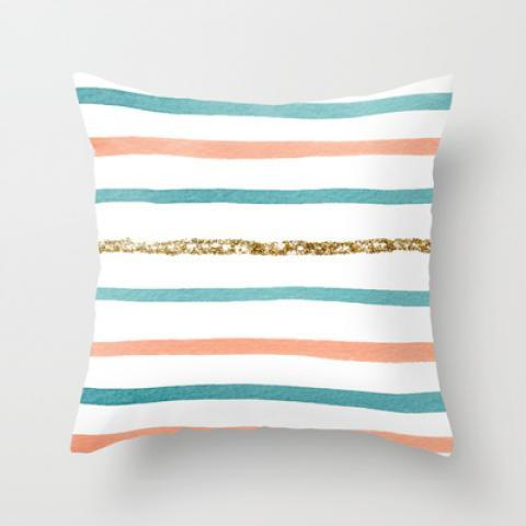 Sparkle Stripe Throw Pillow by Social Proper | Society6