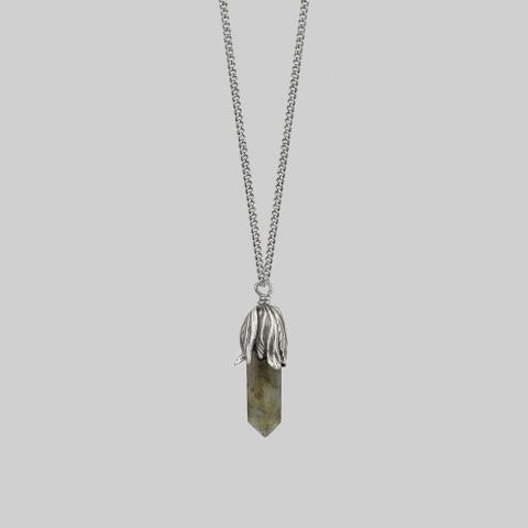 DEATH BLOOM. Labradorite Gemstone Necklace - Silver – REGALROSE