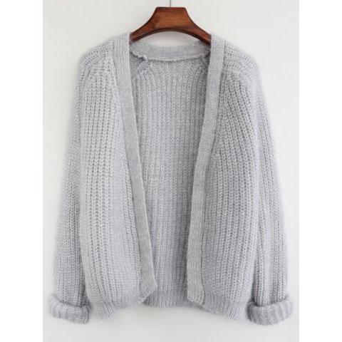 Loose Knit Grey Cardigan -SheIn(Sheinside)