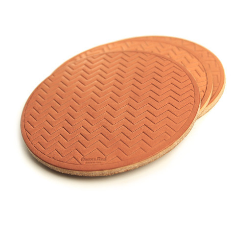 Striped Leather Coasters - Tan | Gifts for Men - Made in the USA | Owen & Fred
