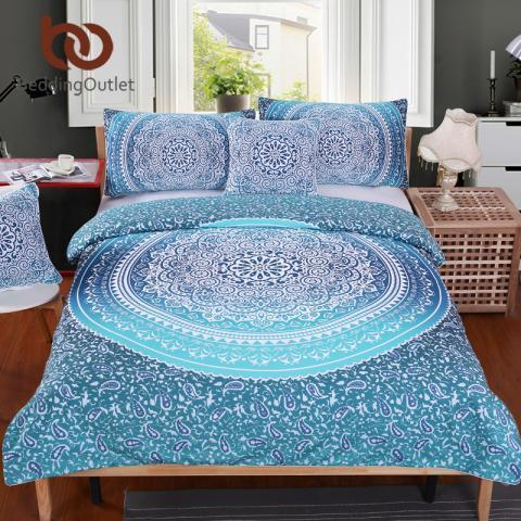 BeddingOutlet Luxury Boho Bedding Set Crystal Arrays Duvet Quilt Cover Blue Printed Bedspread 3Pcs New Arrivals-in Bedding Sets from Home & Garden on Aliexpress.com | Alibaba Group