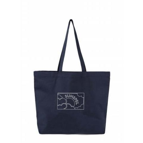 Printed Canvas Tote Bag in Navy | Sunspel