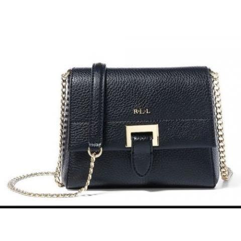 Lauren Ralph Lauren Carlisle Collection Mini Abree Chain Cross-Body Bag Black  | eBay