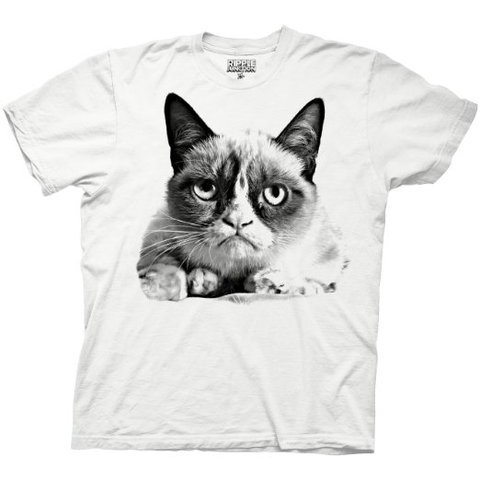 Amazon.com: Grumpy Cat - Grumpy Kitty - Reddit Internet Meme - 100% Cotton Vintage Adult T-Shirt - White: Clothing