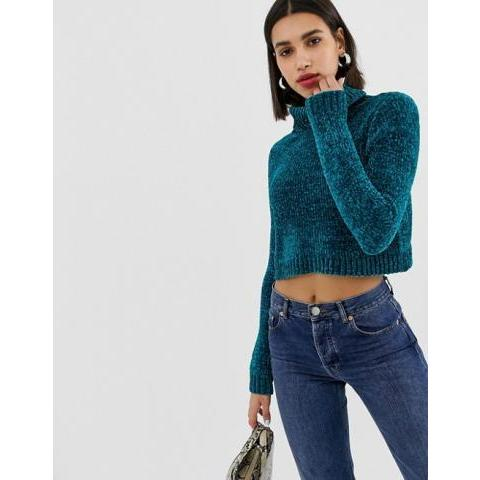 ASOS DESIGN | ASOS DESIGN crop jumper with high neck in chenille