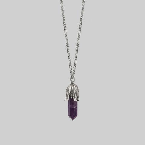 DEATH BLOOM. Amethyst Gemstone Necklace - Silver – REGALROSE