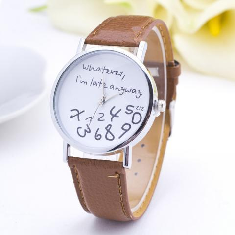 Aliexpress.com : Buy New Design Whatever I'm late anyway Figure Relogio High Quality Leather Strap Women Wristwatch Fashion Casual Watch Clock Hot from Reliable clock cam suppliers on Dream Supermarket  | Alibaba Group