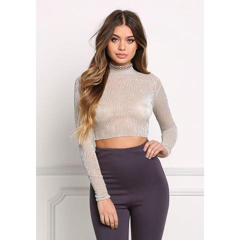 Gold Pleated Sheer Crop Top - Crop Tops + Bustiers - Tops - Clothes
