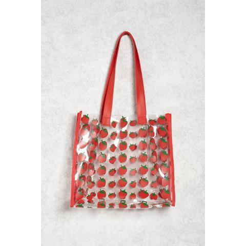 Strawberry Print Clear Tote Bag | Forever 21 - 1000238731