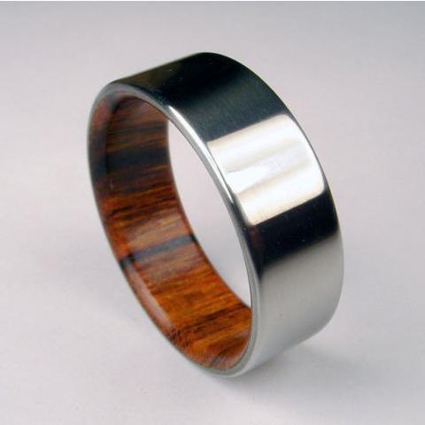 Wood and Titanium ring Rosewood interior with by hersteller