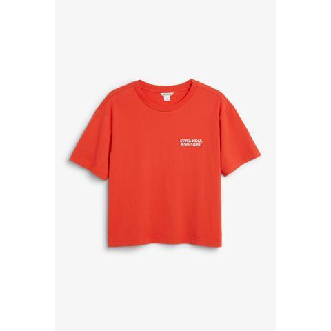 Cotton tee - Orange Reddish Dark - Monki