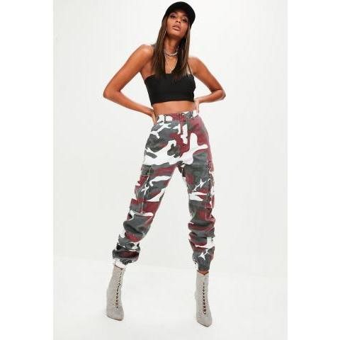 Premium Red Camo Printed Cargo Trousers | Missguided