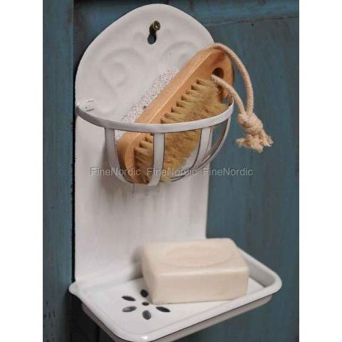 Ib Laursen White Enamel Soap dish with basket for wall
