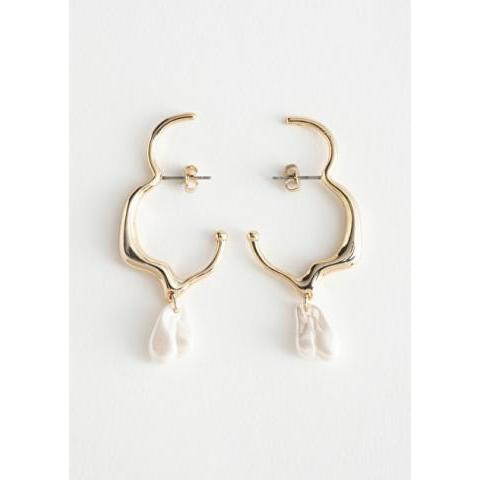 Irregular Pearl Gold Cuff Earrings - Gold - Earrings - & Other Stories