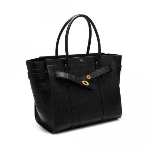 Zipped Bayswater | Black Deep Embossed Croc Print | Family | Mulberry