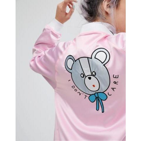 Lazy Oaf | Lazy Oaf - I Don't Care Bear - Bomber en satin