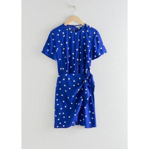 Tie Up Mini Wrap Dress - Blue - Mini dresses - & Other Stories