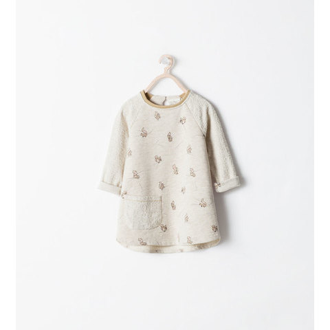 MIXED FABRIC SQUIRREL PRINT DRESS - Dresses - Baby girl (3 months  -  3 years) - KIDS | ZARA Canada