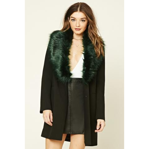 Faux Fur-Lined Coat | Forever 21 - 2000213621