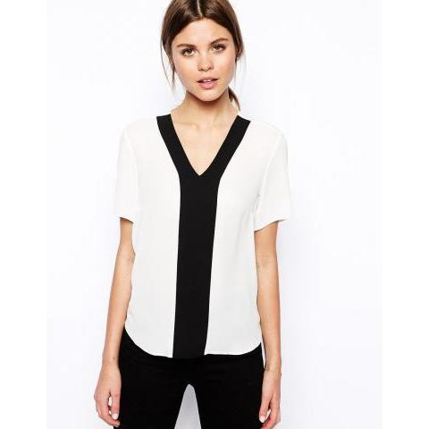 ASOS | ASOS V Neck Colour Block Insert Top at ASOS