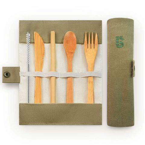 Bamboo Cutlery Set in a Pouch by Bambaw | &Keep