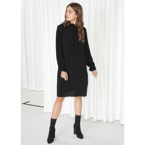 High Neck Frill Dress - Black - Midi dresses - & Other Stories