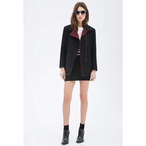 Colorblock Faux Leather-Trimmed Coat - Jackets & Coats - 2000056782 - Forever 21 EU English