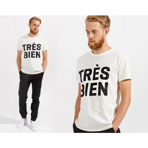 White men's minimalistic t-shirt with trendy TRES by devoclothing